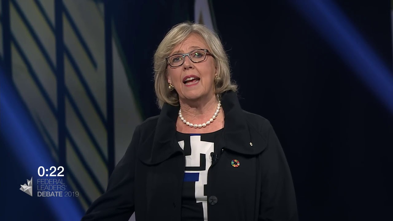 Elizabeth May answers a question about Canada on the world stage