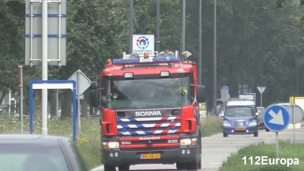 archief vele brandweer voertuigen met spoed naar grote brand in Oosterhout