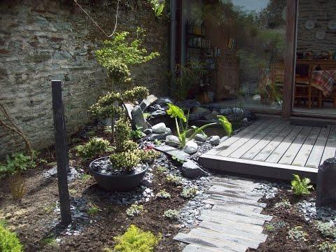 jardin zen, terrasse bois, bassin, plantation ....