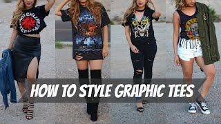 How To Style Graphic Tees/  DIY- How To Distress A Tee Shirt