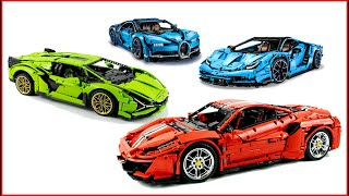 COMPILATION LEGO TECHNIC Top 4 Cars of All Time Ferrari 488 - Lamborghini Centario - Buggati Chiron