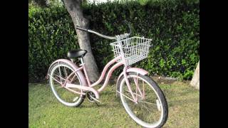 Beach Cruiser Bike Basket.-Wicker / Wire / Hanging & Mounting, With Lid / Quick release bracket