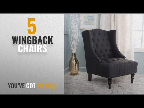 Top 10 Chairs Wingback [2018]: Clarice Dark Charcoal Fabric Wingback Club Chair