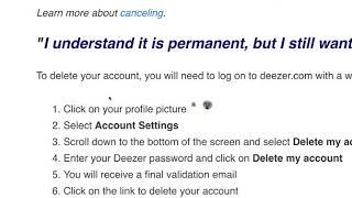 How to DELETE DEEZER ACCOUNT?