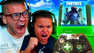 MINDOFREZ AND HIS LITTLE BROTHER RAGE SO HARD ON XBOX THEY DESTROY CONTROLLER! FORTNITE FUNNY MOMENT