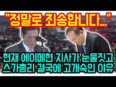 """""""정말로 죄송합니다"""" 현재 에이메현 지사 눈물짓고 스가총리 고개숙인 이유"""