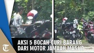 Video Aksi 5 Bocah Curi Barang dari Motor Jemaah Masjid yang Salat, Kabur saat Imam Ucap Salam