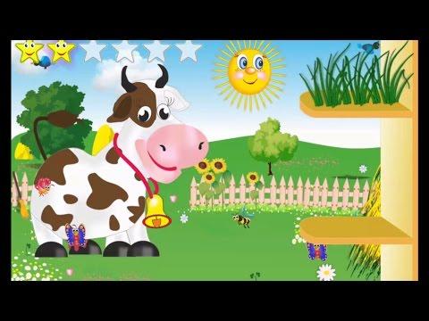 Мультик Сытая Ферма для детей. Кормим ослика, корову и козу
