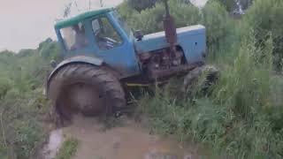 Вот как надо гонять на мощном тракторе!МТЗ-52Л