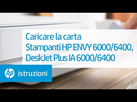 Come caricare la carta nella stampante delle serie HP ENVY 6000/ENVY Pro 6400/DeskJet Plus Ink Advantage 6000/6400