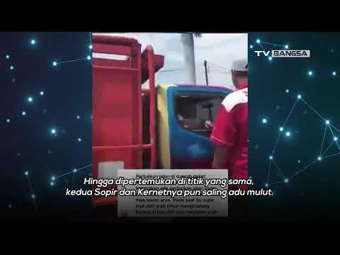 Lawan Arus, Sopir Bus Deli Adu Mulut Dengan Sopir Truk