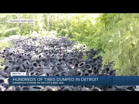 Hundreds of tires dumped in Detroit