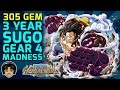 SUPER Start! Gear 4 Guaranteed 305 Gem 3 Year Japan Sugofest! [One Piece Treasure Cruise]