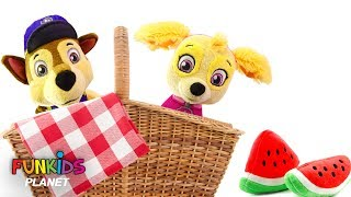 Learning Colors Videos for Kids: Paw Patrol Skye & Chase go for a Picnic Lunch with Watermelon