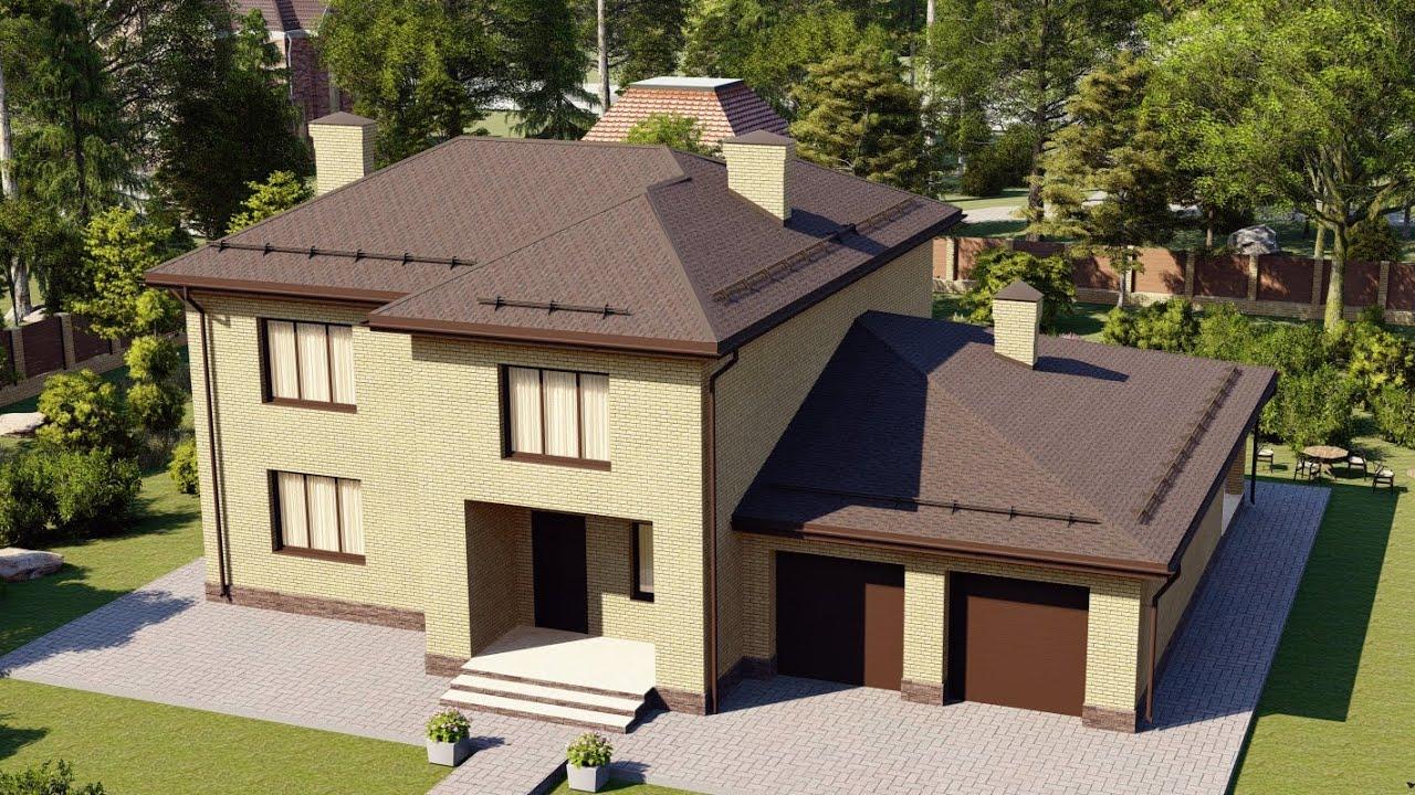 Двухэтажный дом из кирпича с удобной планировкой