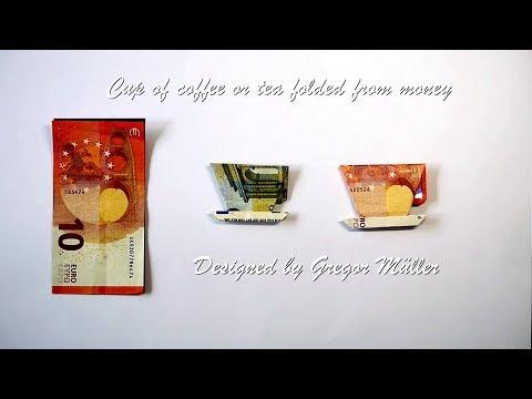 Kaffeetasse aus Geldschein gefaltet Origami Anleitung (deutsche Untertitel, Design: Gregor Müller)