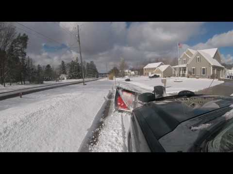 Ford F-250 With Boss V-Plow Clearing Private Road