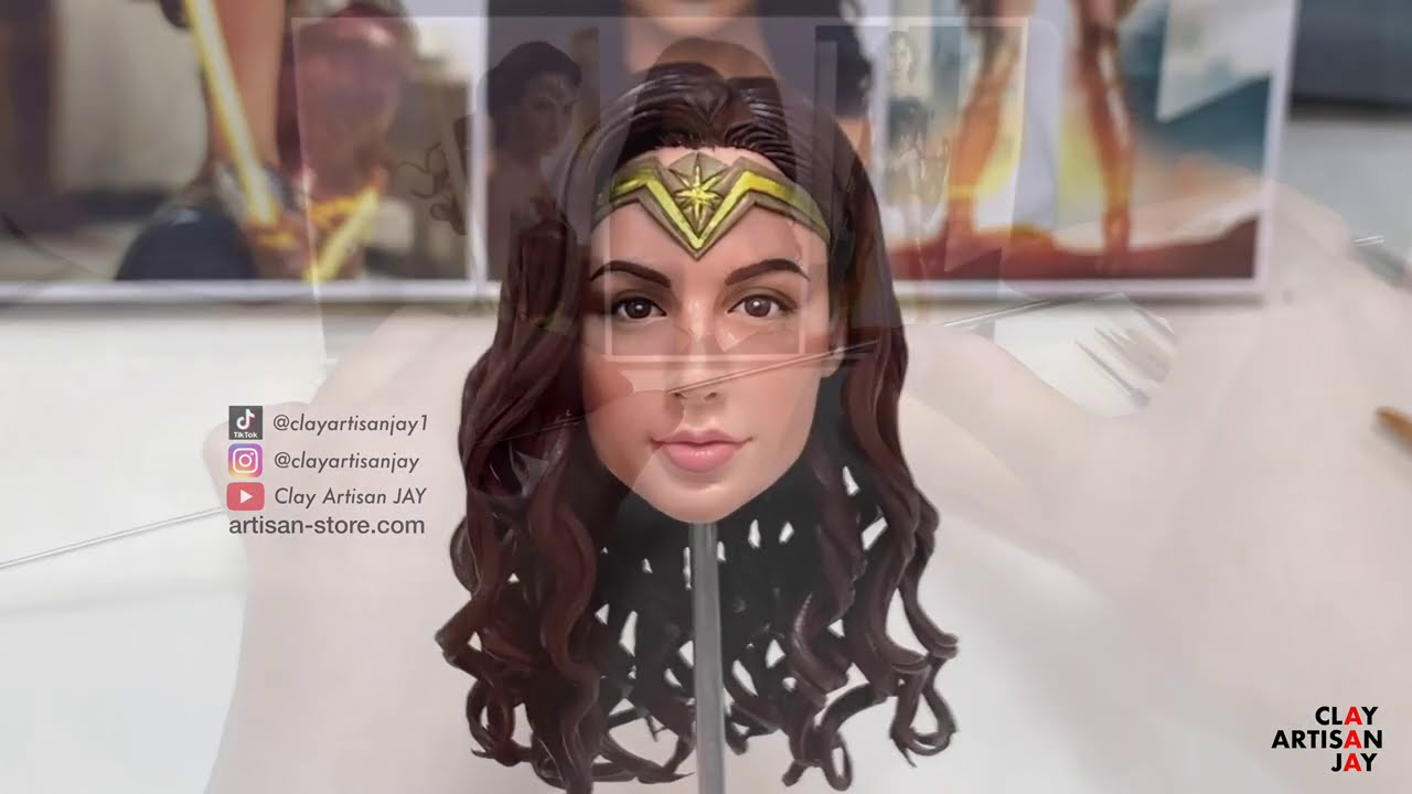 polymer clay sculpture of wonder woman by clay artisan jay