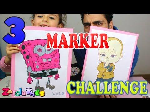 3 MARKER CHALLENGE. coloreando con rotuladores 3 colores Zarolakids