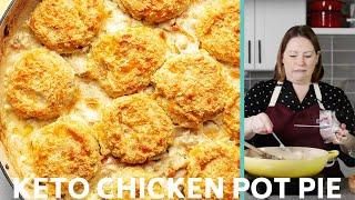 Keto Chicken Pot Pie with Cheddar Biscuits