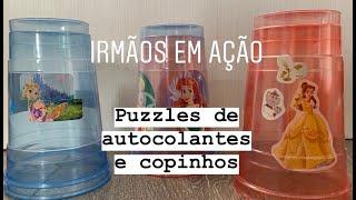 Puzzles de autocolantes e copinhos (vídeo)