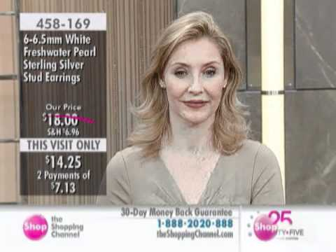 Sterling Silver White Freshwater Pearl Stud Earrings at The Shopping Channel 458169