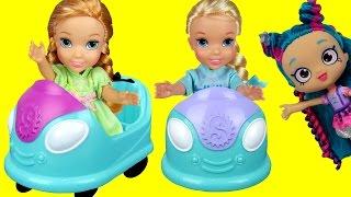 BUMPER Cars! Elsa & Anna toddlers in Shopkins World ! Shopkins turn into Stones ! Dream come true