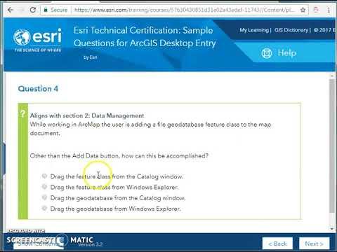 Esri Technical Certification: Sample Questions for ArcGIS Desktop ...