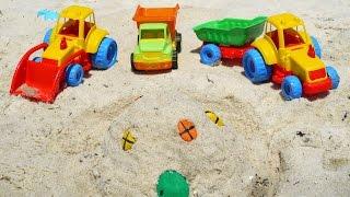 Мультфильмы про Рабочие Машины на пляже - строим песочный замок