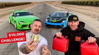 DRIVING TILL YOU RUN OUT OF GAS CHALLENGE!  2020 SUPRA VS LAMBO