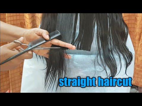 Easy straight haircut/How to cut hair straight/straight cut for long hair/amazing long hair cutting
