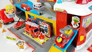 Pororo Fire Rescue and Fire Trucks car toys Fire Station play - 토이몽