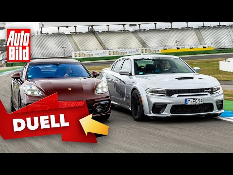 Dodge Charger Hellcat vs. Porsche Panamera Turbo S e-Hybrid (2021) | Ein Duell der 700 PS-Limos | VS