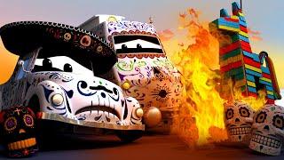 Поезд Трой -  ПИНЬЯТА загорелась на Празднике МЁРТВЫХ! - Автомобильный Город 🚄 детский мультфильм