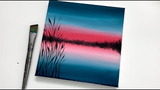 Red Blue Lake | Acrylic Painting For Beginners On Canvas | Easy Abstract Landscape Acrylic Painting