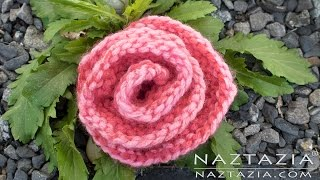 HOW to KNIT a ROSE - Easy Simple ROLLED ROSE for Beginners by Naztazia