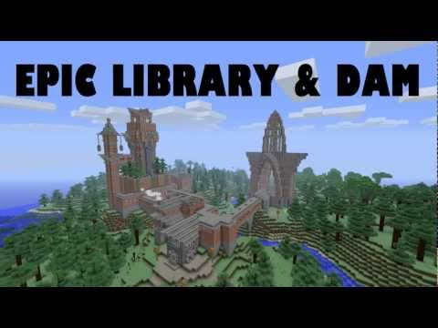 Epic Minecraft Library and Piston Dam + DOWNLOAD