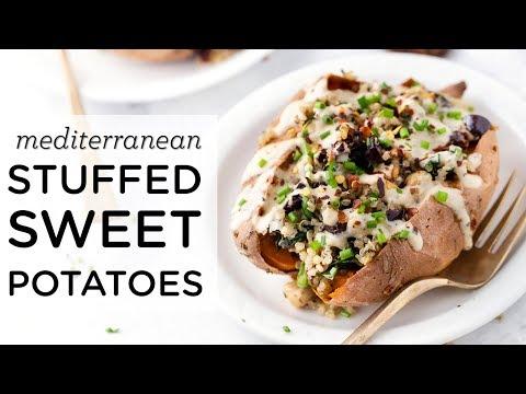 VEGAN STUFFED SWEET POTATOES ‣‣ with Mediterranean Quinoa