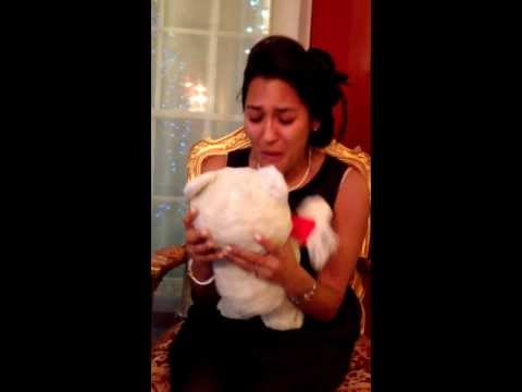 Man surprises fiancee with her old teddy bear brought back to life.