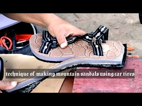 Making mountain sandals with used car tires