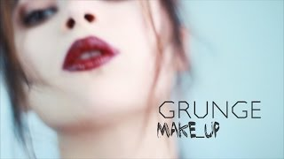Осенний гранж макияж с бордовой темной помадой GRUNGE makeup