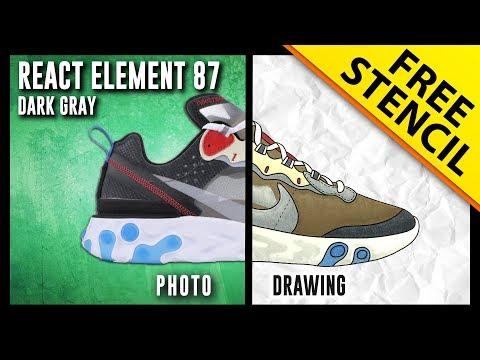 ed563e8a2b4 Nike React Element 87 Dark Gray - Sneaker Drawing w  FREE Stencil
