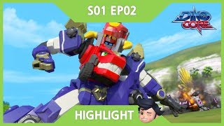 [DinoCore] Official   Highlight   Level 2 Union! D Buster!   A Warrior Protecting Earth   S01 EP02