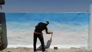 preview picture of video 'رسم منظر طبيعي . الرسام مرتضى منصور'