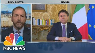 In an exclusive interview with Meet the Press, Prime Minister of Italy, Giuseppe Conte, talks to Chuck Todd about the next steps Italy continues its national lockdown.» Subscribe to NBC News: http://nbcnews.to/SubscribeToNBC » Watch more NBC video: http://bit.ly/MoreNBCNews  NBC News Digital is a collection of innovative and powerful news brands that deliver compelling, diverse and engaging news stories. NBC News Digital features NBCNews.com, MSNBC.com, TODAY.com, Nightly News, Meet the Press, Dateline, and the existing apps and digital extensions of these respective properties.  We deliver the best in breaking news, live video coverage, original journalism and segments from your favorite NBC News Shows.   Connect with NBC News Online! NBC News App: https://smart.link/5d0cd9df61b80 Breaking News Alerts: https://link.nbcnews.com/join/5cj/breaking-news-signup?cid=sm_npd_nn_yt_bn-clip_190621 Visit NBCNews.Com: http://nbcnews.to/ReadNBC Find NBC News on Facebook: http://nbcnews.to/LikeNBC Follow NBC News on Twitter: http://nbcnews.to/FollowNBC Follow NBC News on Instagram: http://nbcnews.to/InstaNBC  Full Italian PM: 'We Are Suffering Very Much' | Meet The Press | NBC News