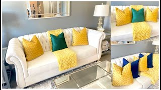 Spring Living Room Makeover   How to Style Pillows & Throws   How to Add Bright Colors to Decor