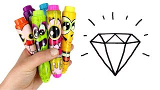 How to Draw & Color Diamond Umbrella Pineapple Rose Drawing with Surprise Toys Creative Fun for Kids