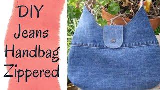 Jeans Bag Making At Home | Jeans Handbag Stitching | Handmade Bag From Old Jeans | DIY Zipper Bag 👛👜