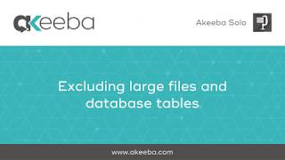 Watch a video on Excluding Large Files and Database Tables [03:41]