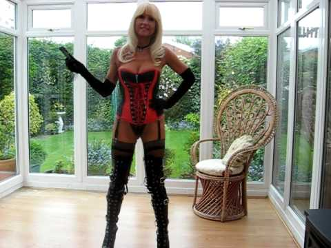 Sexy woman cards PVC Thigh Boots Rubber Corset